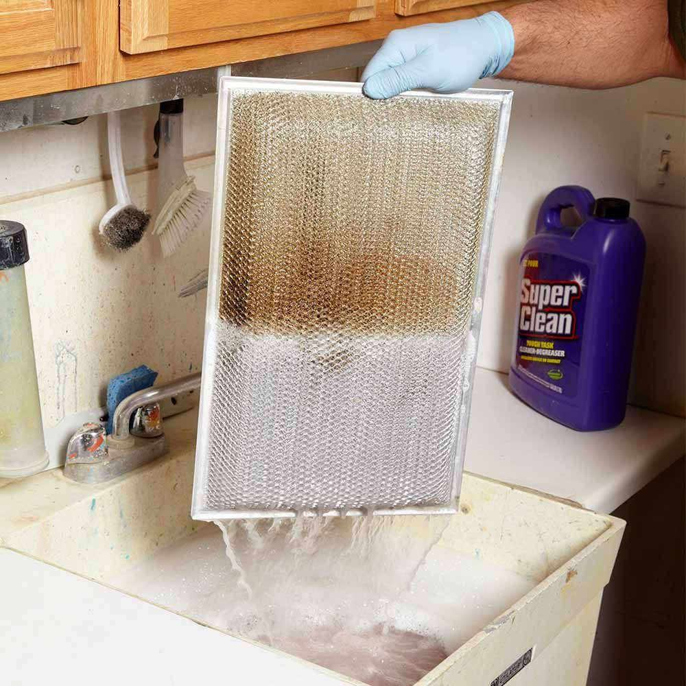 Clean Range Hood Grease Filters With a Degreaser