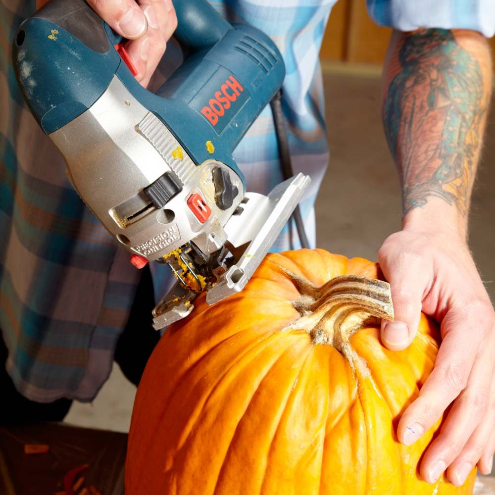 Use Your Jigsaw to Cut the Top of the Pumpkin
