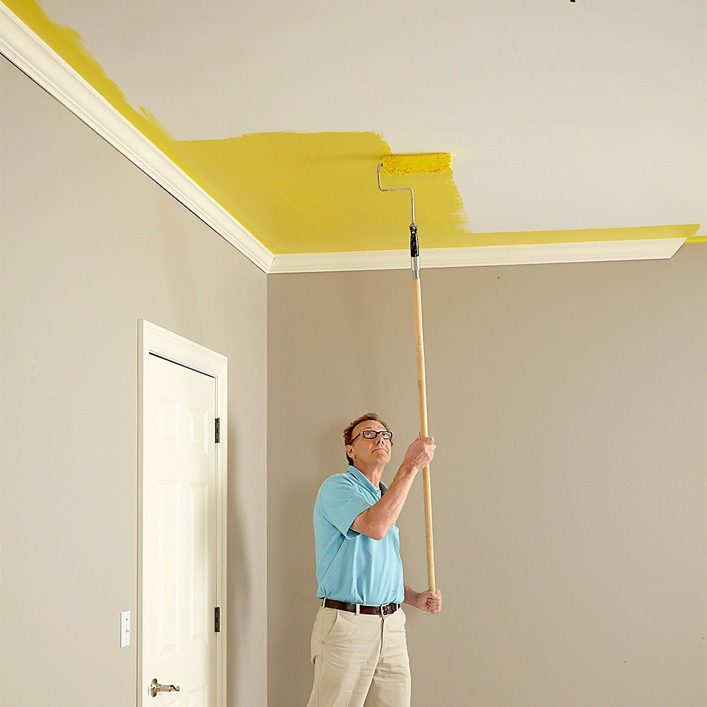 How to paint a ceiling the family handyman Best paint to use on walls