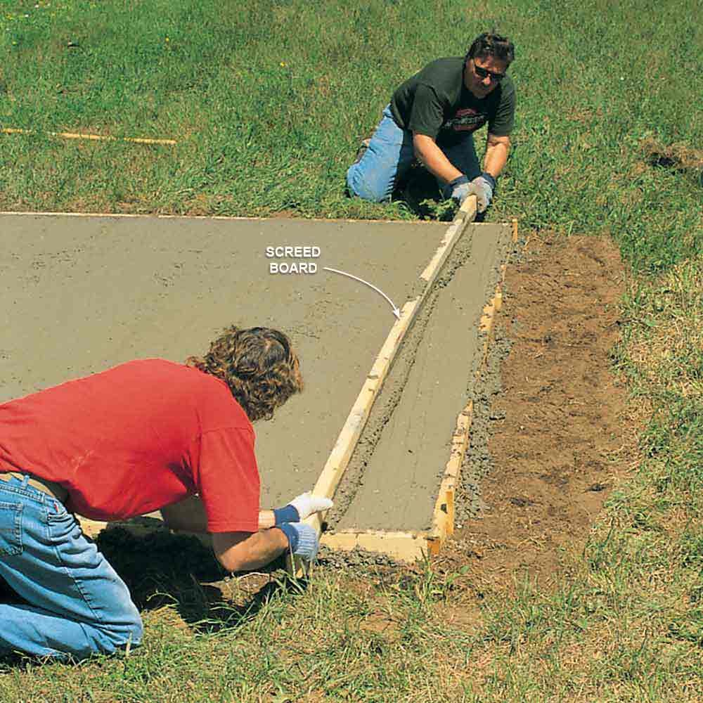 Diy storage shed building tips the family handyman for Concrete advice