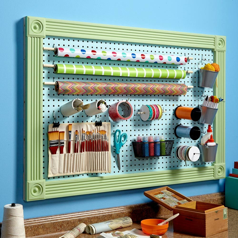 Organize anything with pegboard 11 ideas and tips the for Craft wall storage system