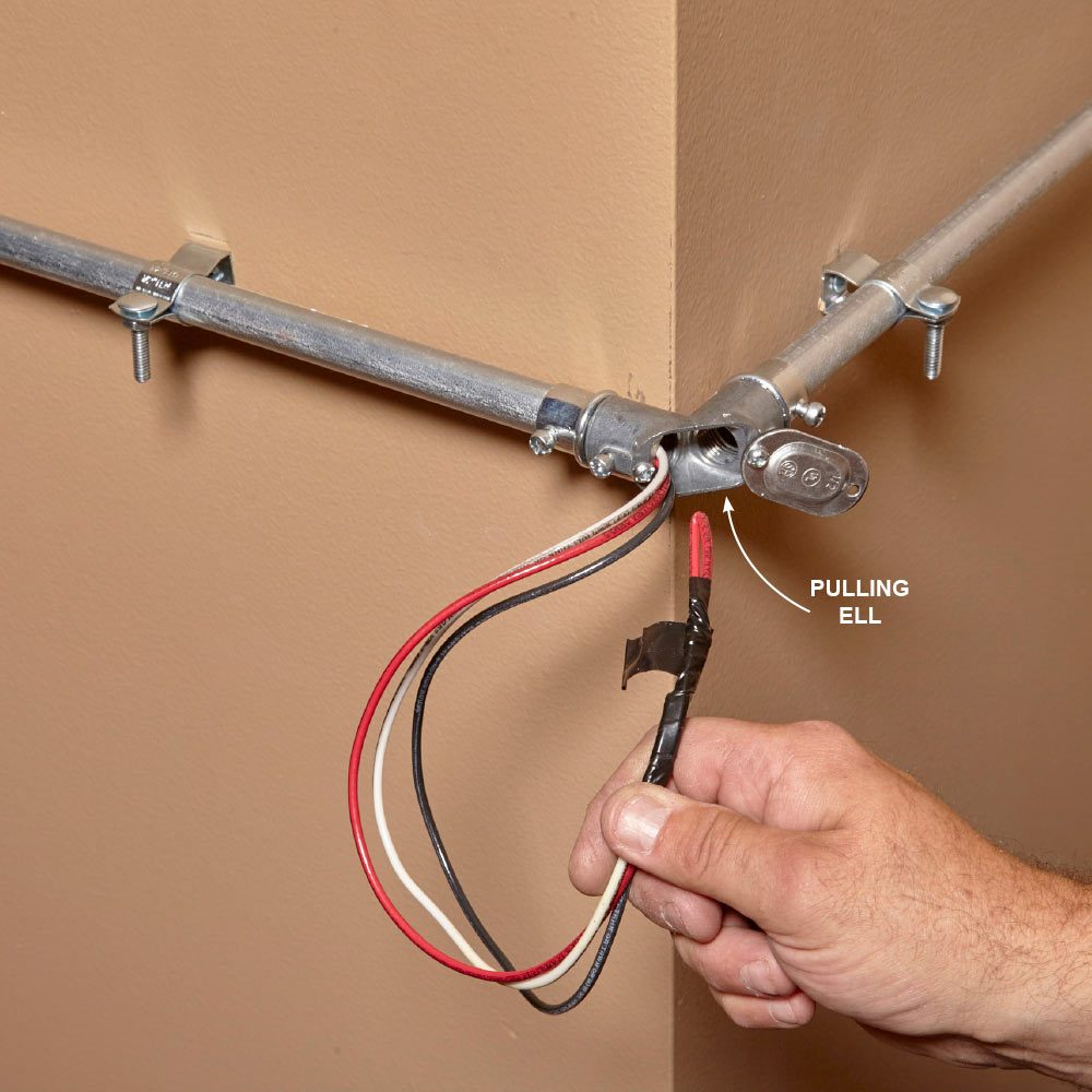 Mastering The Art Of Electrical Conduit Family Handyman Wire Use A Pulling Ell At Outside Corners