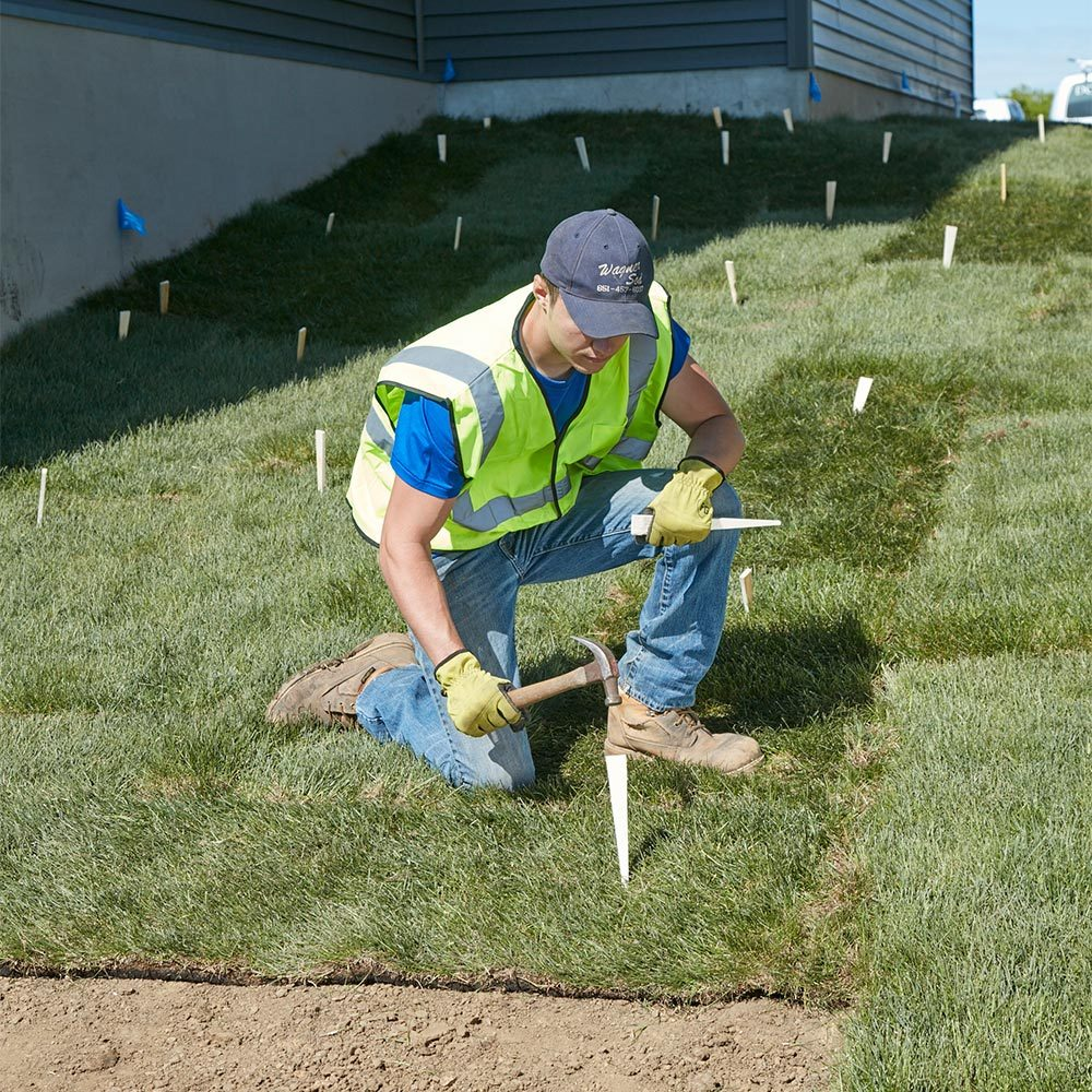 Drive Stakes on Hills and Swales