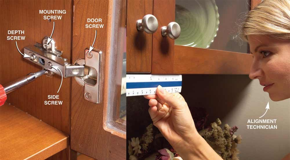 charming How To Install Hardware On Kitchen Cabinets #10: Adjust Hinges on Misaligned Doors