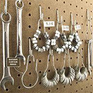 Nuts and Washers Stored on Pegboard