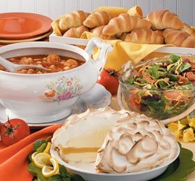 Spicy Seafood Bisque, Buttery Crescents, Chicken Romaine Salad and Lemon Baked Alaska