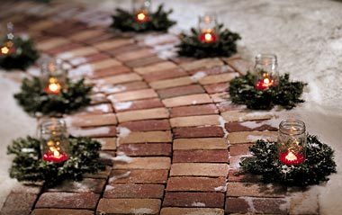 candles lining path