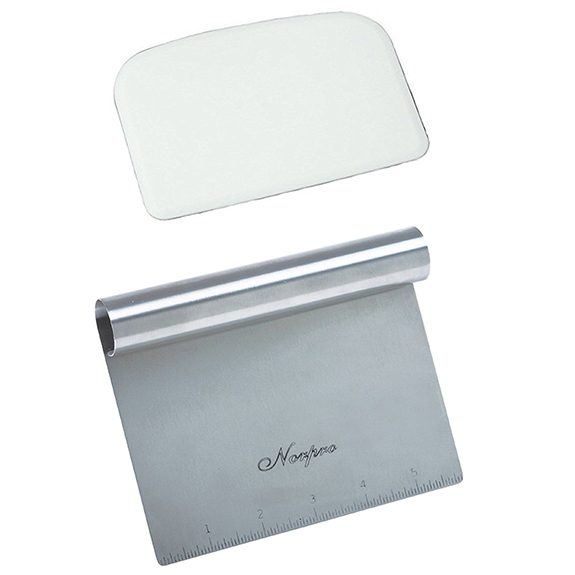 Stainless steel scraper with a flexible plastic bowl scrapper above it on a white background