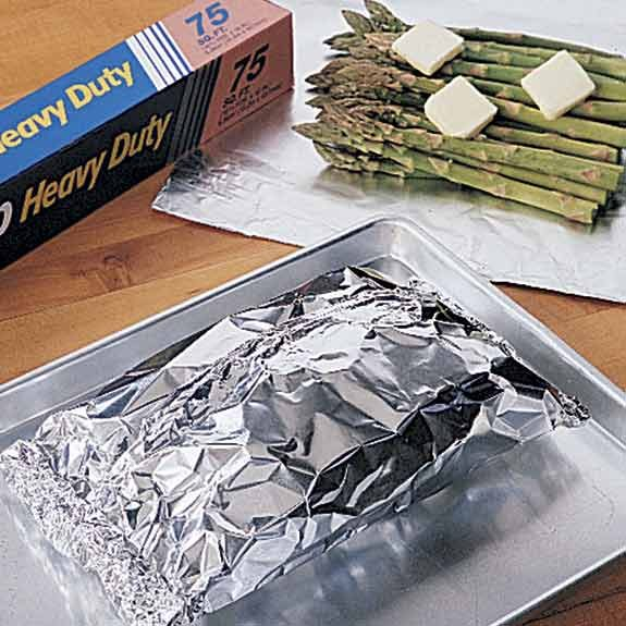 Baking fresh asparagus in foil packets with butter