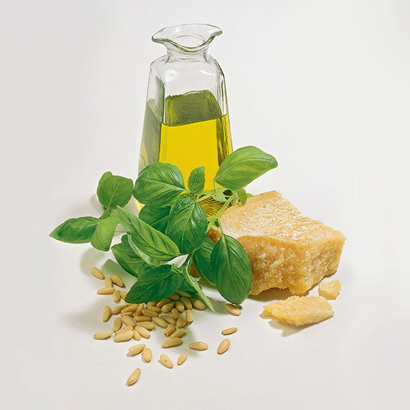 Basil, Olive Oil, Pine Nuts and Cheese for Pesto