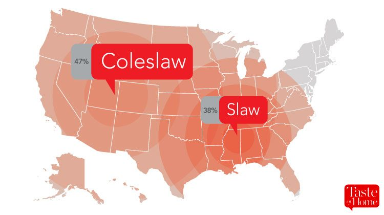 Map with red call-outs labelling what coleslaw is called in different areas of the USA