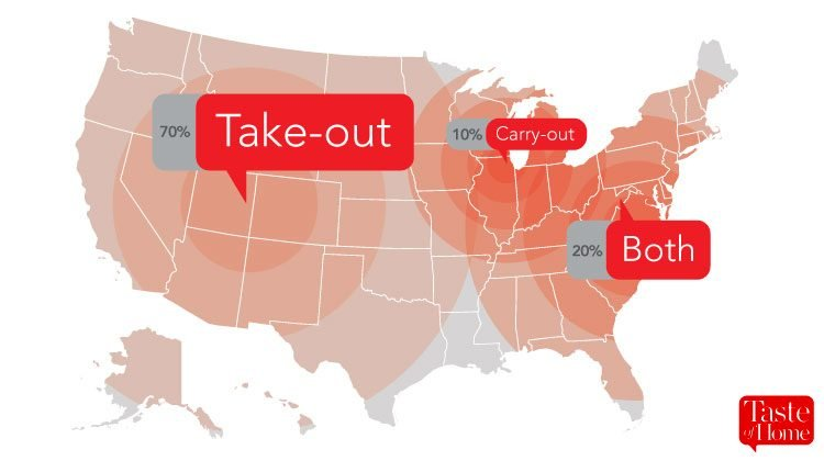 Map with red call-outs labelling what food-to-go is called in different areas of the USA