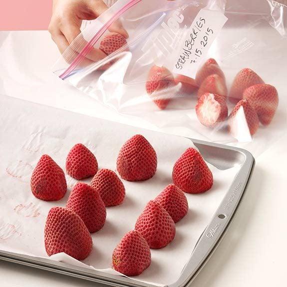 freeze fresh strawberries