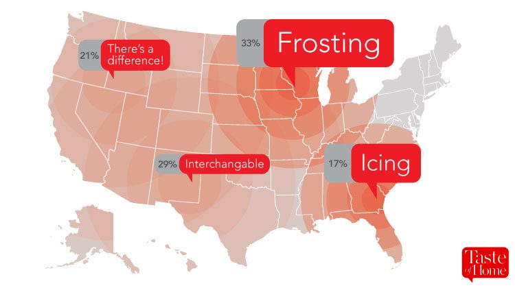 Map with red call-outs labelling what frosting is called in different areas of the USA