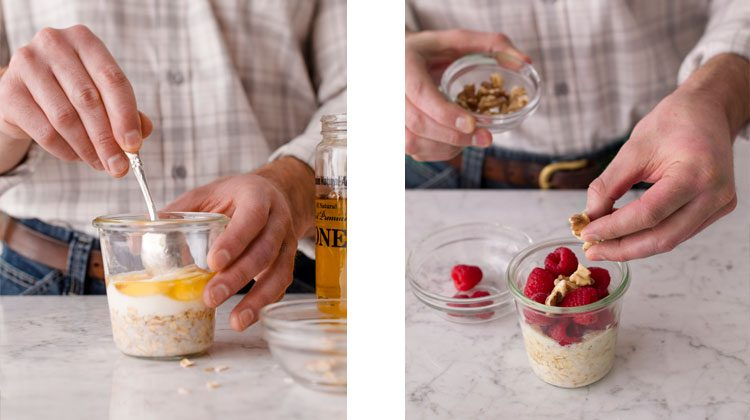 honey being mixed in with a spoon to the oatmeal mixture and a person topping finished oatmeal with raspberries and nuts
