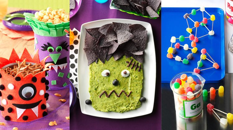 Mash-up of frankenstein guacamole, monster felt jars and gumdrop toothpick sculptures