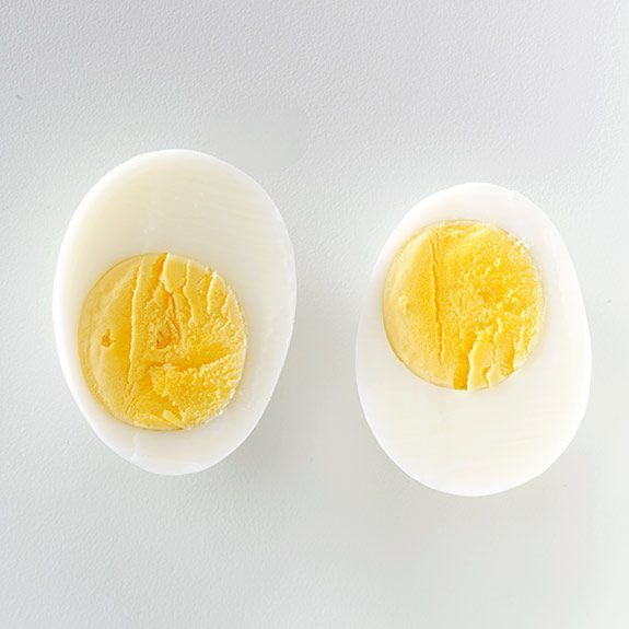 Cross-section of a perfectly cooked hard boiled egg