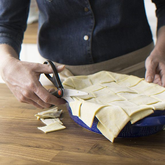 How to top pie with lattice for Puff Pastry Chicken Potpie recipe from Taste of Home.