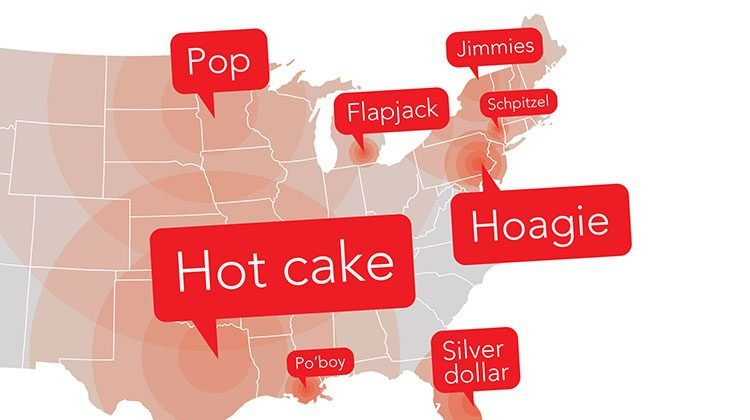 Map with red call-outs labelling what different foods are called in different areas of the USA