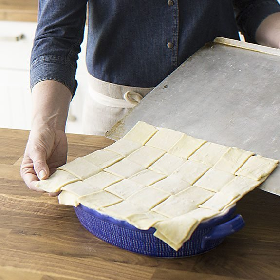 How to make a lattice crust for Puff Pastry Chicken Potpie recipe from Taste of Home.