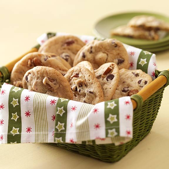 Basket of homemade chocolate chip cookies.