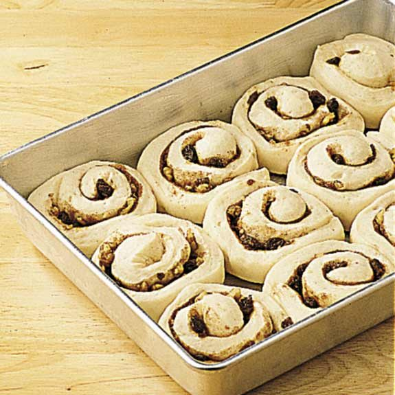 Cinnamon rolls nearly doubled in size after rising.
