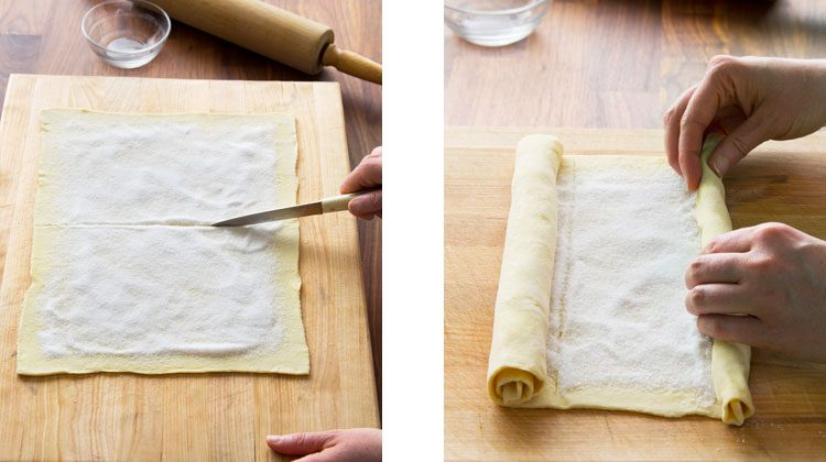 person using a knife to score down the middle of the sugared dough and then rolling the dough up from both ends so they meet in the middle
