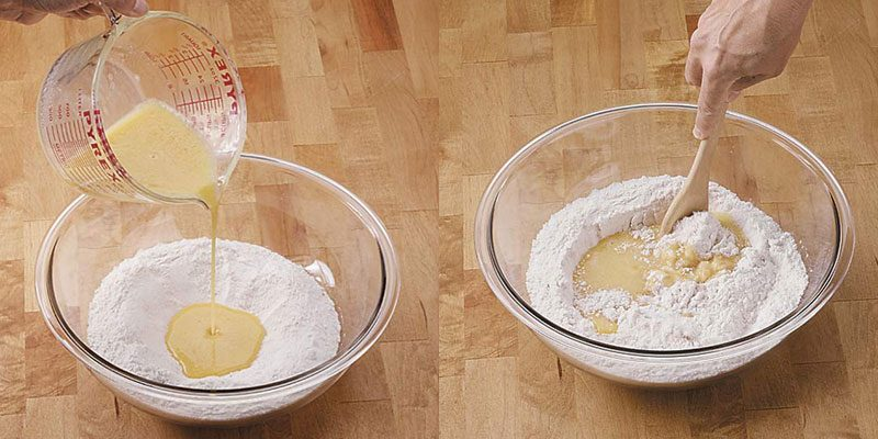 Combining ingredients to make pancakes from scratch.