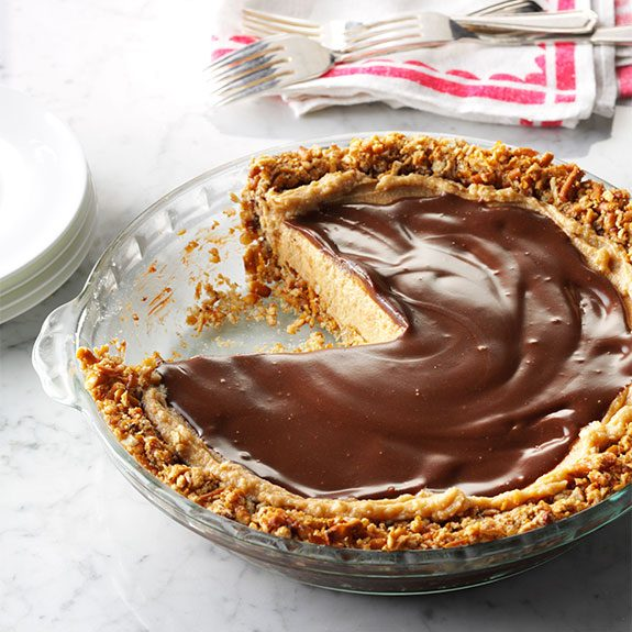 peanut butter pie with chocolate ganache