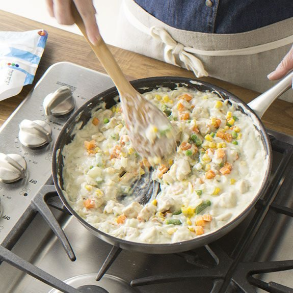 How to make filling for Puff Pastry Chicken Potpie recipe from Taste of Home.