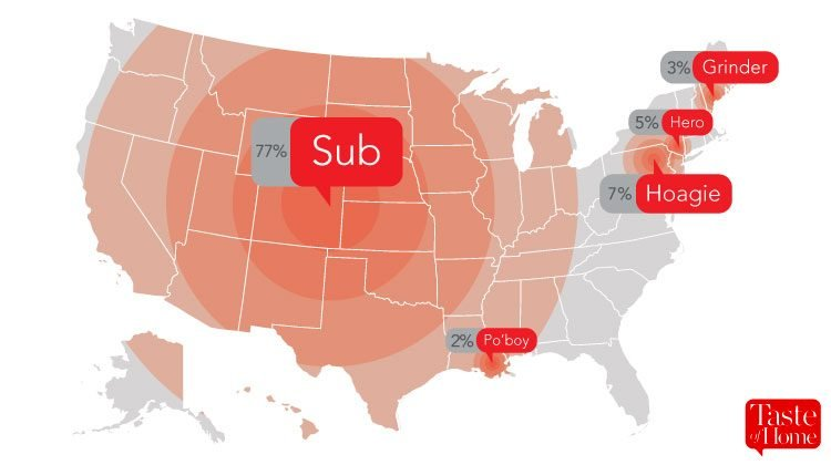Map with red call-outs labelling what sandwiches are called in different areas of the USA
