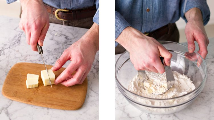 Person slicing butter stick into smaller cubes