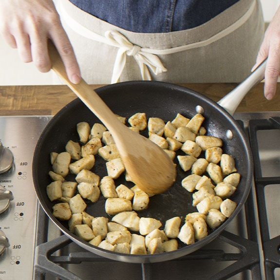 How to sear chicken for Puff Pastry Chicken Potpie recipe from Taste of Home.