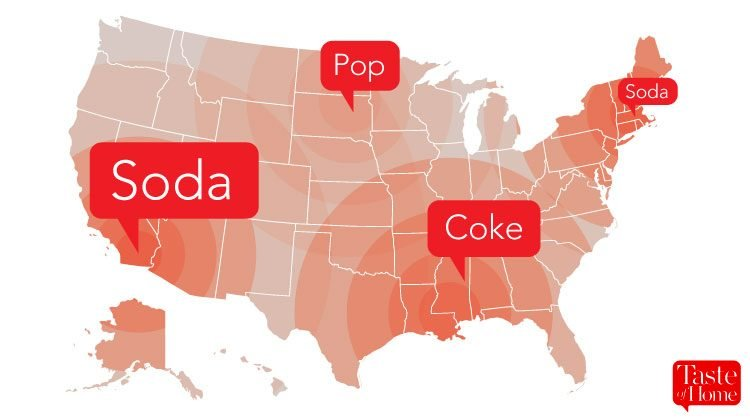 Map with red call-outs labelling what soda is called in different areas of the USA