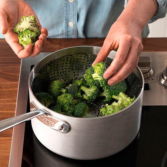 Place broccoli in a steamer basket.