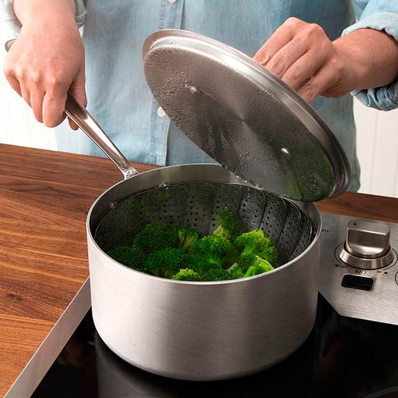 Open pot lid away from you to avoid steam burns.