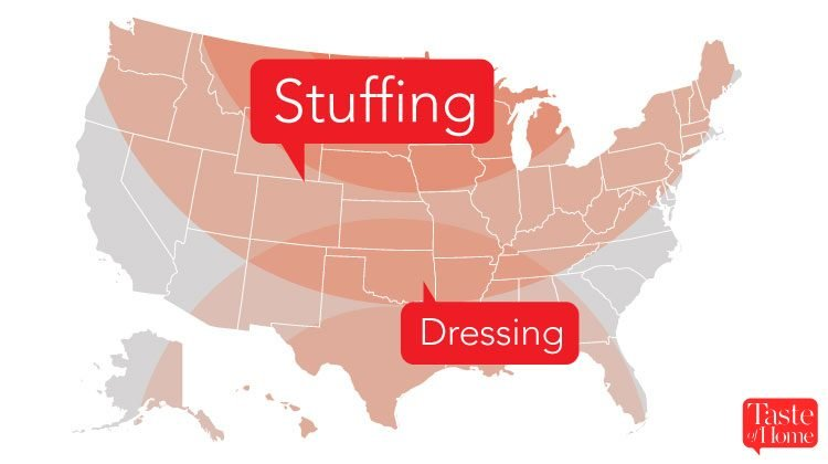 Map with red call-outs labelling what stuffing is called in different areas of the USA
