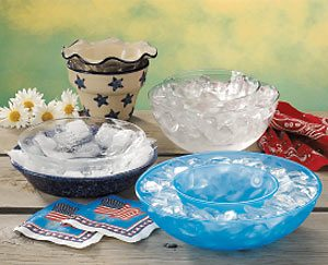 Iced bowls for chilling dip