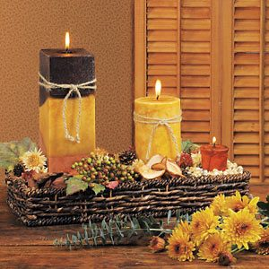 Harvest centerpiece with candles