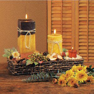 Harvest candle centerpiece taste of home - Candle centerpieces for home ...