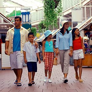 Family walking together in shopping mall