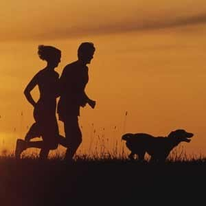 Couple running at sunset with dog