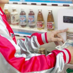 Buying snack at vending machine