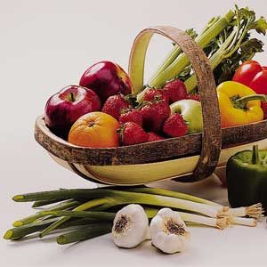 Fruits and veggies in a basket