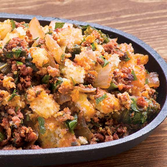 Roasted Pepper Chorizo Cornbread Stuffing