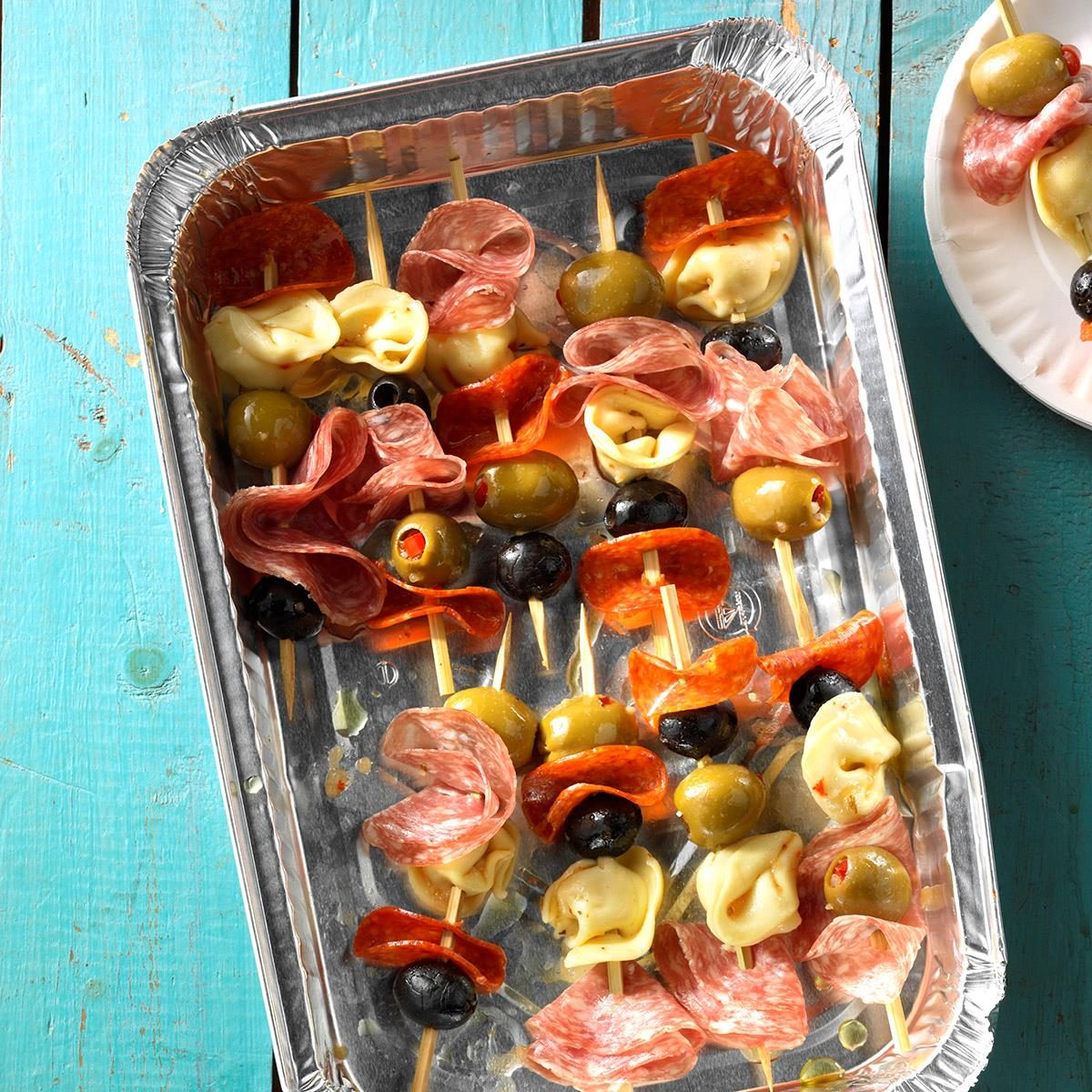 40 Easy Potluck Recipes For Your Graduation Party: Antipasto Kabobs Recipe