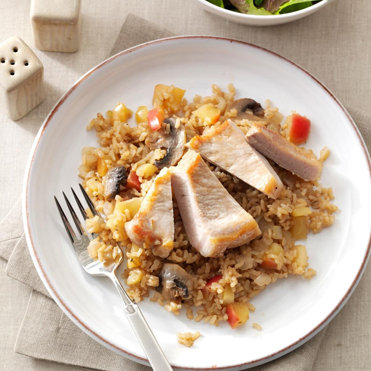Apple balsamic pork chops rice recipe taste of home ccuart Images