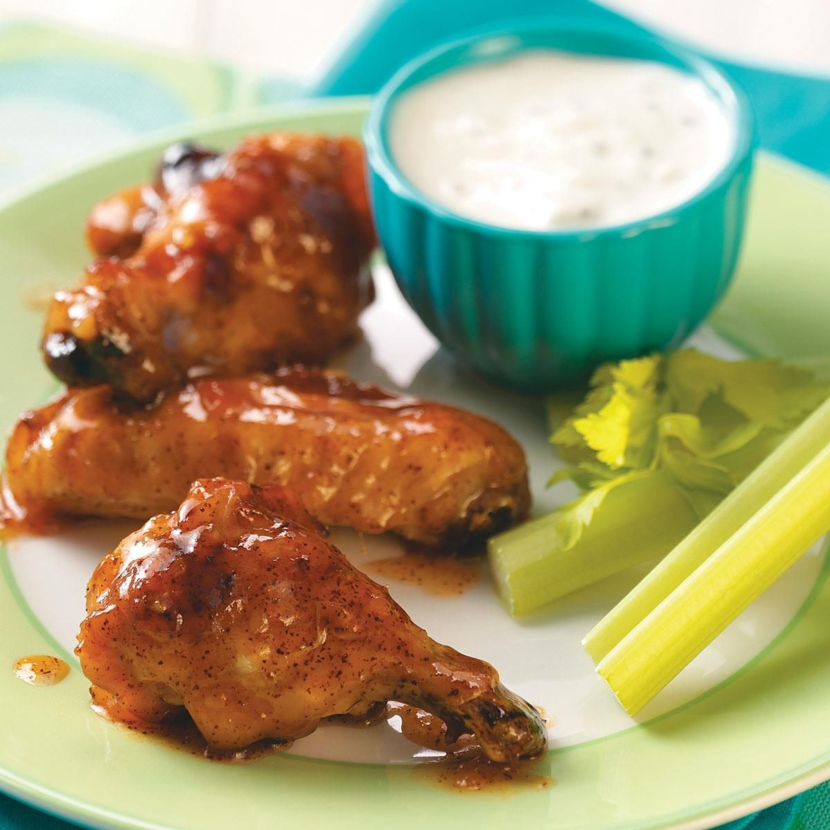 Barbecued Spicy Apricot-Glazed Chicken Wings..
