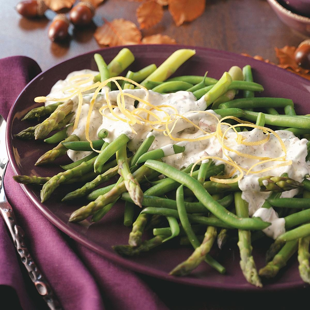 Asparagus And Green Beans With Tarragon Lemon Dip Recipe  Taste Of Home
