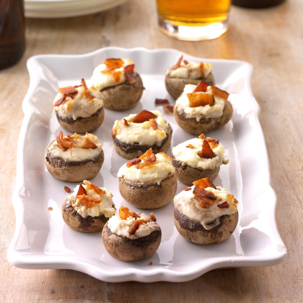 Bacon stuffed mushrooms recipe taste of home for Appetizers to make at home